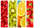 Healthy food backgrounds, four images of strawberries, kiwi, gar