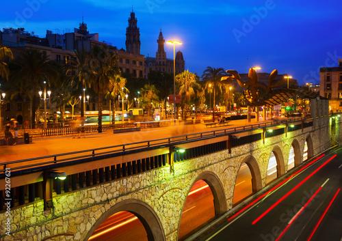 Barcelona embankment in summer night Wallpaper Mural