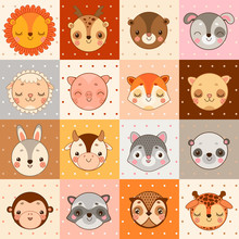 Set Of 16 Face Of Animals: Cow...