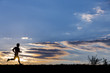 canvas print picture - jogger silhouette am abendhimmel bei sonnenuntergang