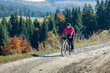 Mountain biker in autumn forest