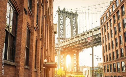 New york city skyline and manhattan bridge.