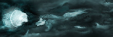 Night Sky With The Moon And Clouds Banner. Illustration Sinister Storm Night Sky