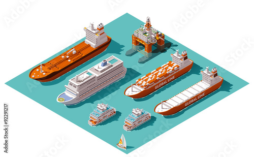 Fotografía  Vector isometric ships and oil rig