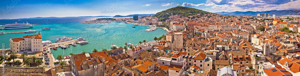Fototapety, obrazy: Split waterfront aerial panoramic view