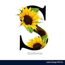 Letter S Vector Alphabet With Sunflower. ABC Concept Type As Log