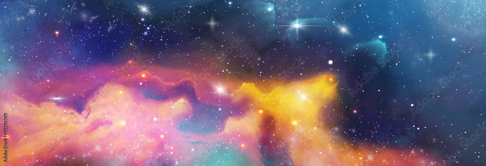 Fototapety, obrazy: color space backround banner with star, nebula und galaxies
