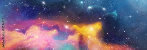 Obraz color space backround banner with star, nebula und galaxies - fototapety do salonu
