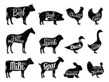 Farm Animals Silhouettes Colle...