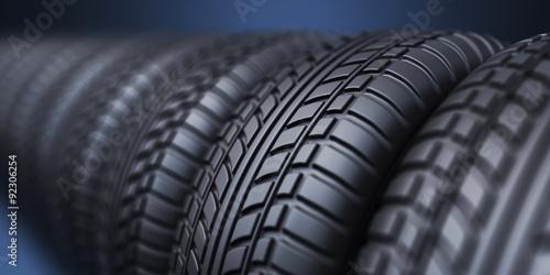 fototapeta na lodówkę Row of rubber tire 3D, on blue background