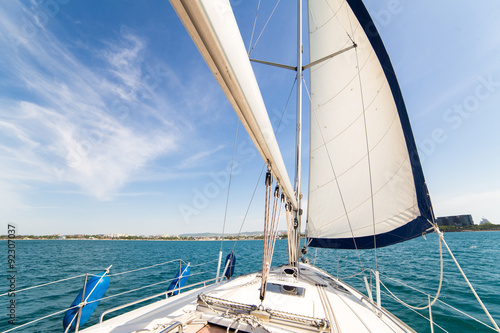 Yatch sail and desk Fototapeta