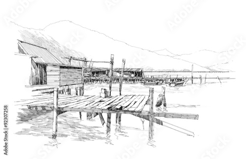 drawing of landscape with old fishing village