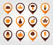 Thanksgiving, Harvest Mapping Pin Icon Set