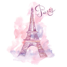 Vector Watercolor Illustration With Eiffel Tower