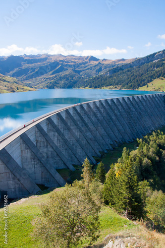 Deurstickers Dam Lac et barrage de Roselend