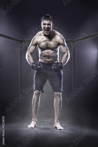 Photo  Excited MMA fighter in a cage shouting loud