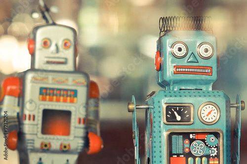 Photo  old classic tin robot toys