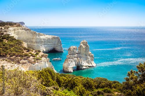 Scenic seascape view of Kleftiko rocky coastline on Milos island Canvas Print