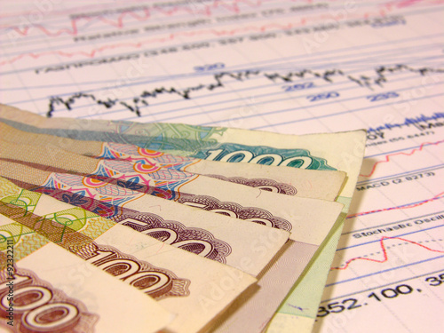 Russian banknotes and stock prices Poster
