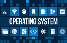 Operating System Concept Image With Technology Icons And Copyspace