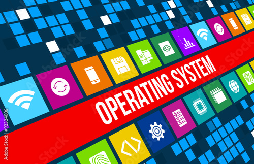 Fotografía  Operating system concept image with technology icons and copyspace