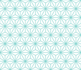 FototapetaSeamless mint and white vintage japanese asanoha isometric pattern vector