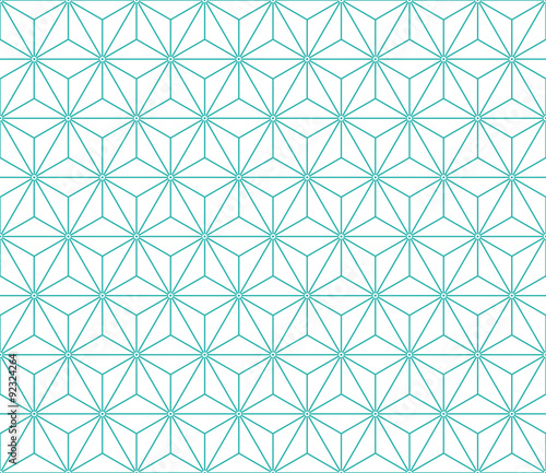 Seamless mint and white vintage japanese asanoha isometric pattern vector Canvas Print