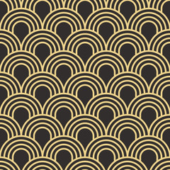 NaklejkaSeamless antique palette simple art deco wave scales pattern vector