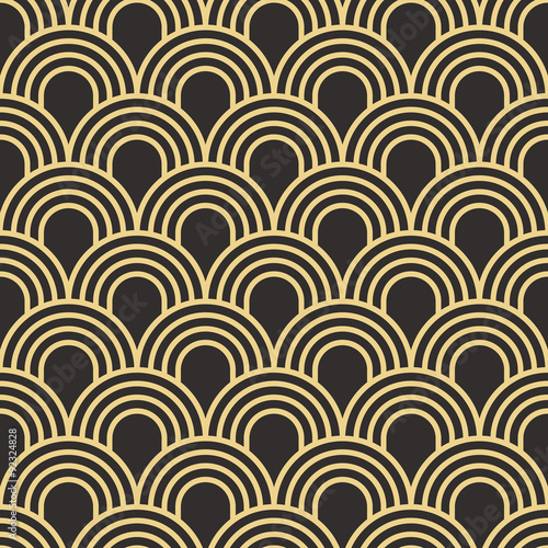 Seamless antique palette simple art deco wave scales pattern