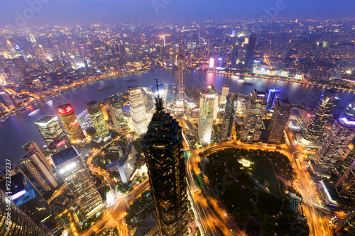 Spoed Foto op Canvas Shanghai Shanghai Pudong skyline at night