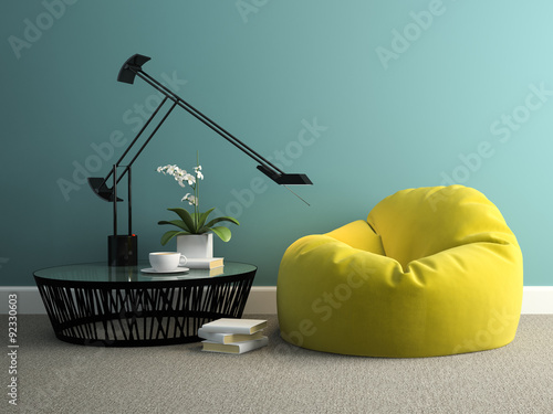 Part of interior with yellow beanbag 3d rendering Canvas Print