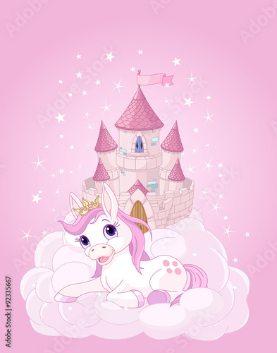 Deurstickers Pony Sky Castle and Unicorn