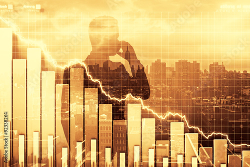 Fotografía  Double exposure of crisis illustration with business graph and m