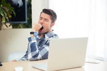 Portrait Of A Bored Man Yawning