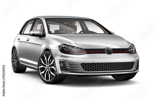 Silver hatchback car
