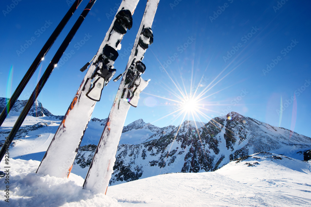 Fototapeta Ski equipment in high mountains in snow at winter