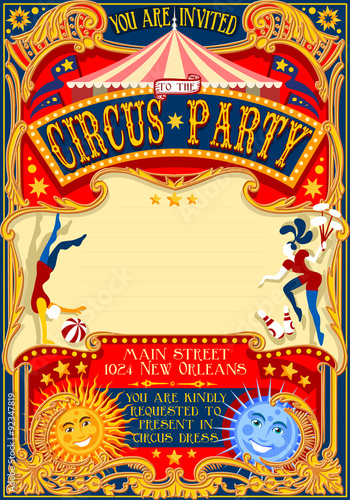Circus Show Retro Template Party Invitation. Cartoon Poster for Kid Birthday Party. Carnival Festival Theme Background Acrobatics Cabaret Vintage vector. Acrobat Clown Strip Card Game Illustration.
