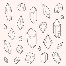 Set Of Vector Crystal Shapes, ...