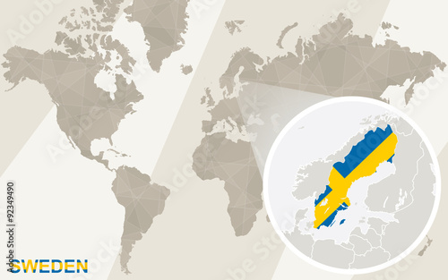 Zoom on Sweden Map and Flag. World Map. - Buy this stock vector and ...