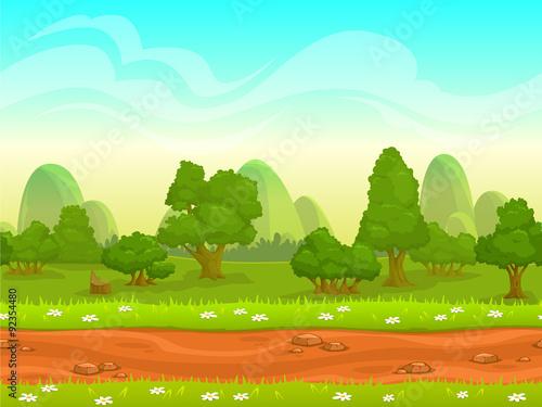 Foto op Canvas Lichtblauw Cute cartoon seamless landscape