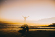 Multi Exposure, girl silhouette, sunset, sea