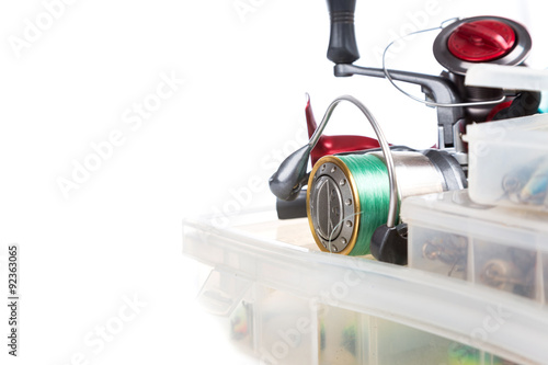 Fototapeta fishing tackles and lure in storage boxes obraz na płótnie