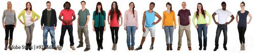 Fototapeta Lachen glücklich multikulturell Gruppe junge Menschen in einer obraz