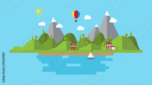 Poster Turquoise modern flat vector landscape illustration . with house boat and hills . holiday coast scenery background