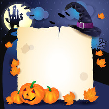 Halloween Background With Parchment, Hat And Pumpkins