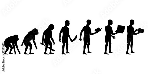 Fotografia, Obraz  Evolution of Man and Technology silhouettes