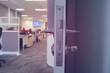 door handle and walkway in office