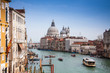 view of the Grand Canal and Basilica Santa Maria della Salute during sunset, Venice, Italy, Europe