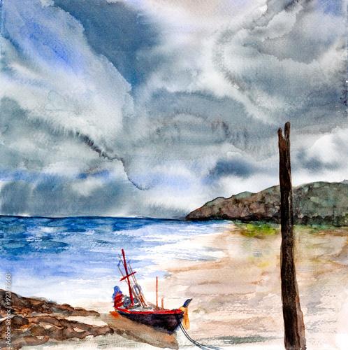 burza-nad-pejzaz-morski-akwarela-malowane