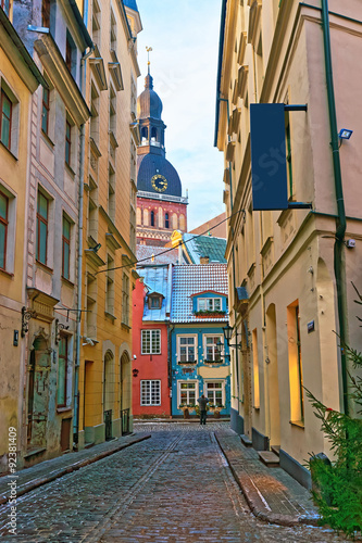 Narrow streets in the capital of Latvia - 92381409